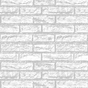 Adesivo em rolo Tijolos II Branco e Cinza