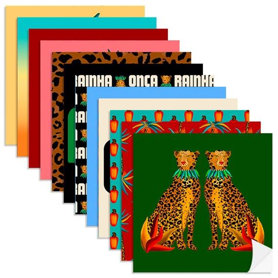Adesivo para Azulejo Amor Selvagem Azul e Vermelho