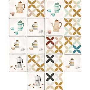Adesivo para Azulejo Café Bege I e Vermelho