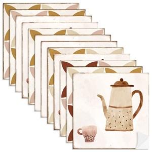 Adesivo para Azulejo Café Vermelho e Bege