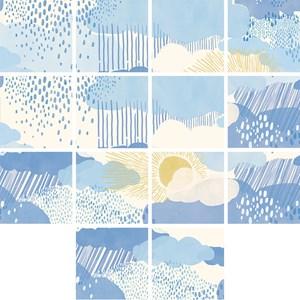 Adesivo para Azulejo Chuva Azul e Amarelo