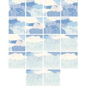 Adesivo para Azulejo Chuva Azul e Bege