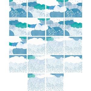 Adesivo para Azulejo Chuva Azul e Verde