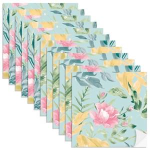 Adesivo para Azulejo Floral Aquarela Azul e Rosa