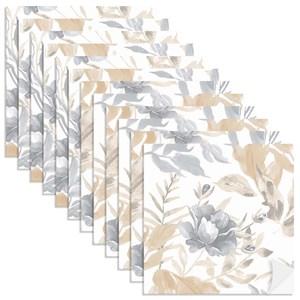 Adesivo para Azulejo Floral Aquarela Bege e Cinza