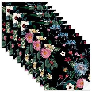 Adesivo para Azulejo Floral Cool Preto e Rosa