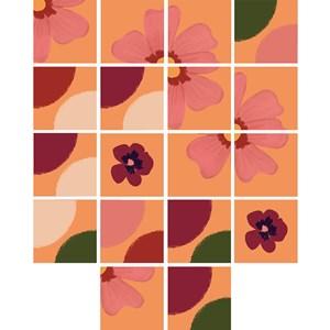 Adesivo para Azulejo Floral Pic nic Vermelho e Verde