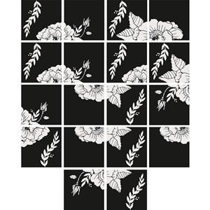 Adesivo para Azulejo Flores Pretas Branco e Preto