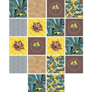 Adesivo para Azulejo Folhagens Sonhos Verde e Amarelo