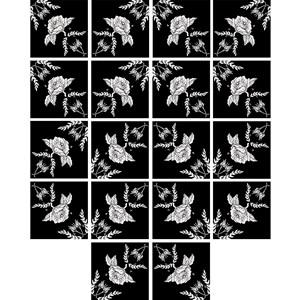 Adesivo para Azulejo Folhinhas Pretas Branco e Preto