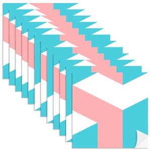 Adesivo para Azulejo Geométrico Bumerangue Azul e Rosa