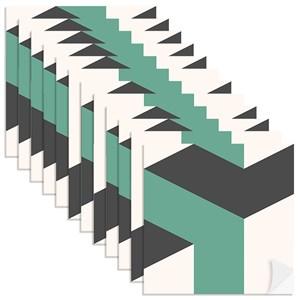 Adesivo para Azulejo Geométrico Bumerangue Azul Escuro e Verde