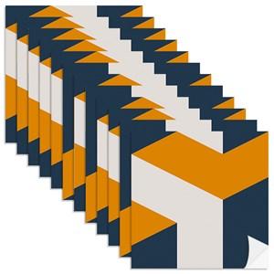 Adesivo para Azulejo Geométrico Bumerangue Azul Marinho e Amarelo
