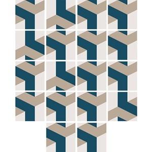 Adesivo para Azulejo Geométrico Bumerangue Bege e Azul Marinho