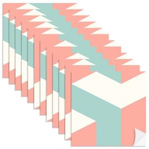 Adesivo para Azulejo Geométrico Bumerangue Laranja e Azul Claro