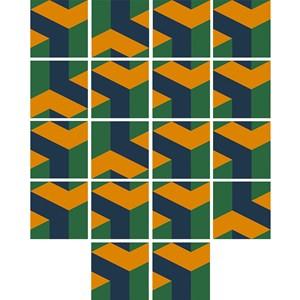 Adesivo para Azulejo Geométrico Bumerangue Laranja e Azul Marinho