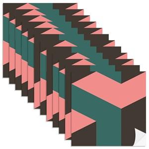 Adesivo para Azulejo Geométrico Bumerangue Preto e Verde