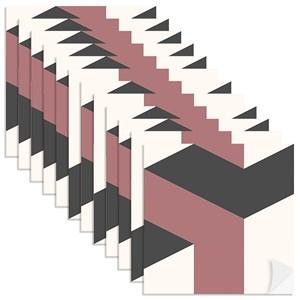 Adesivo para Azulejo Geométrico Bumerangue Vermelho e Preto