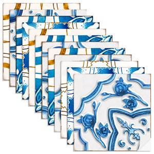 Adesivo para Azulejo Motivos Portugueses Azul e Amarelo