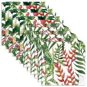 Adesivo para Azulejo Paisagem Tropical Branco e Vermelho