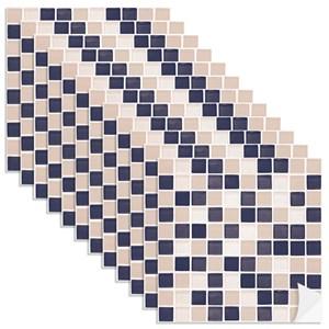 Adesivo para Azulejo Pastilhas Bege e Azul Marinho