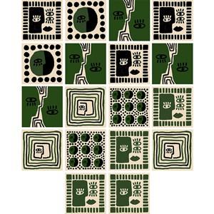 Adesivo para Azulejo Rostinhos Verde e Preto
