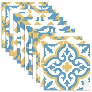 Adesivo para Azulejo Tradicional Azul e Amarelo