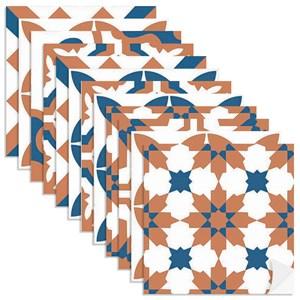 Adesivo para Azulejo Tradicional Azul Marinho e Laranja