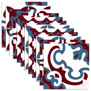 Adesivo para Azulejo Tradicional Azul Marinho e Vermelho