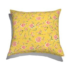 Almofada de Chão Floral Japonaisserie Amarelo e Vermelho I