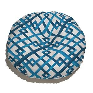 Almofada de Chão Geométrico Desgastado Azul e Cinza