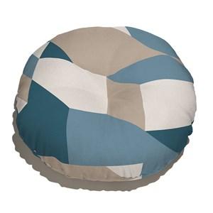 Almofada de Chão Geométrico Grande Bege e Azul Marinho