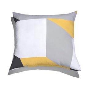 Almofada de Chão Geométrico Grande Cinza e Amarelo I