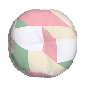 Almofada de Chão Geométrico Grande Verde e Rosa