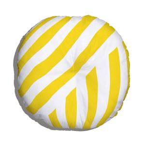 Almofada de Chão Geométrico Linhas Grossas Branco e Amarelo