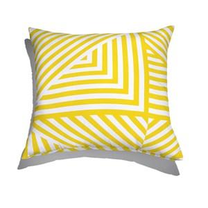 Almofada de Chão Geométrico Linhas Grossas Branco e Amarelo II