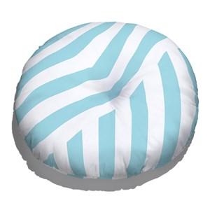 Almofada de Chão Geométrico Linhas Grossas Branco e Azul