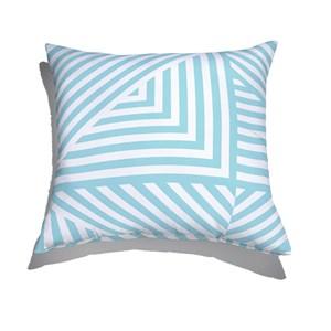Almofada de Chão Geométrico Linhas Grossas Branco e Azul II