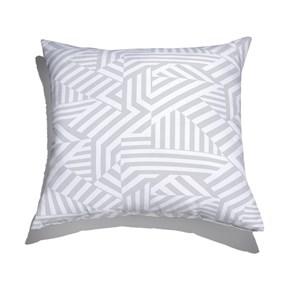 Almofada de Chão Geométrico Linhas Grossas Branco e Cinza I