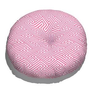 Almofada de Chão Ikat Linhas Rosa e Branco