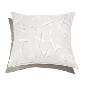 Almofada de Chão Quadrada ABC Cinza e Branco