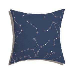 Almofada de Chão Quadrada Constelações Azul Marinho e Branco