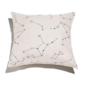Almofada de Chão Quadrada Constelações Branco e Azul Marinho
