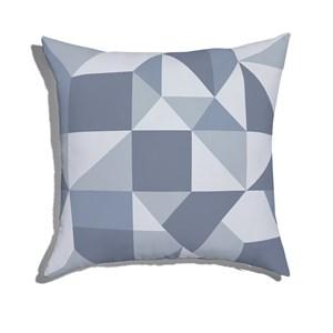 Almofada de Chão Quadrada Estampinha Azul e Cinza