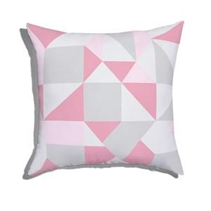 Almofada de Chão Quadrada Estampinha Rosa e Cinza