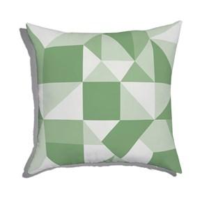 Almofada de Chão Quadrada Estampinha Verde e Cinza