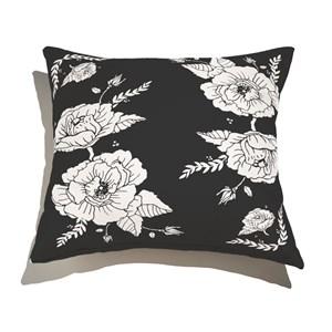 Almofada de Chão Quadrada Flores Pretas Branco e Preto