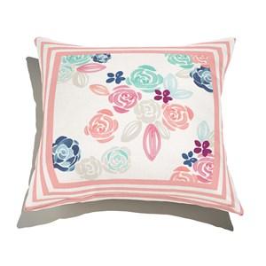 Almofada de Chão Quadrada Florzitas I Rosa e Branco