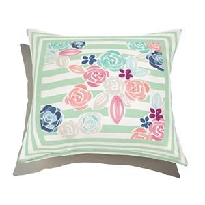Almofada de Chão Quadrada Florzitas I Verde e Branco