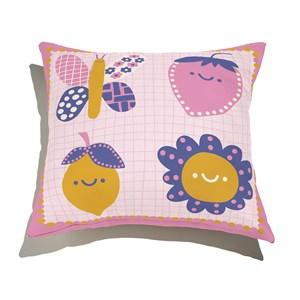 Almofada de Chão Quadrada Flower Power II Amarelo e Rosa